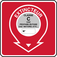 Panneau de sécurité incendie extincteur classe C