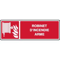 Panneau de sécurité horizontal robinet d'incendie armé