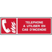 Panneau de sécurité horizontal téléphone incendie à utiliser