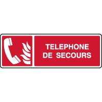 Panneau de sécurité horizontal téléphone de secours