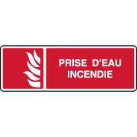 Panneau de sécurité horizontal symbole prise d'eau incendie