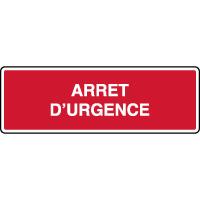 Panneau d'incendie horizontal texte arrêt d'urgence