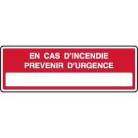 Panneau de sécurité en cas d'incendie prévenir d'urgence