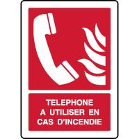Panneau de sécurité vertical téléphone incendie à utiliser