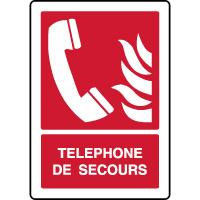 Panneau de sécurité vertical téléphone de secours