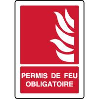 Panneau d'incendie vertical permis de feu obligatoire