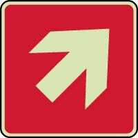 Panneau d'incendie photoluminescent avec flèche oblique