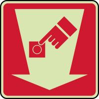 Panneau photoluminescent bouton d' alarme incendie