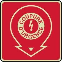 Panneau d'incendie photoluminescent coupure d'urgence