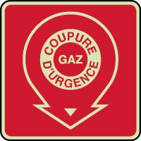 Panneau d'incendie photoluminescent coupure gaz