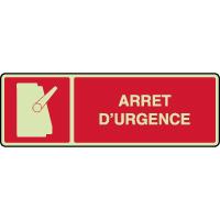 Panneau horizontal photoluminescent symbole arrêt urgence
