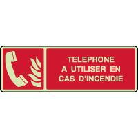 Panneau photoluminescent horizontal téléphone incendie