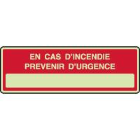 Panneau photoluminescent en cas d'incendie prévenir urgence