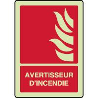 Panneau photoluminescent vertical avertisseur d'incendie