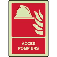 Panneau vertical photoluminescent alarme accès pompiers