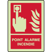 Panneau photoluminescent vertical point alarme incendie