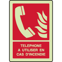 Panneau photoluminescent vertical téléphone incendie