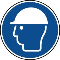 Panneau casque de protection obligatoire