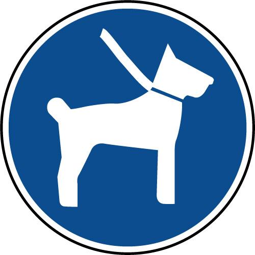Panneau d'obligation de tenir son chien en laisse - Virages