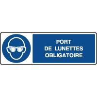 Panneau horizontal port de lunettes obligatoire