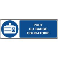 Panneau d'obligation horizontal port du badge obligatoire