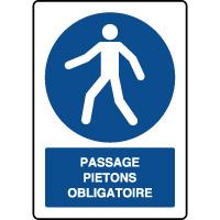 Panneau d'obligation vertical Passage piétons obligatoire
