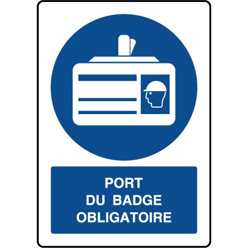 Panneau d obligation vertical Port du badge obligatoire - Virages.com f842c534c36a