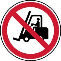 Panneau interdit aux chariots et véhicules industriels
