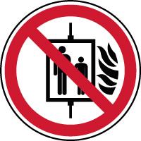 Panneau interdiction de prendre l'ascenseur si incendie