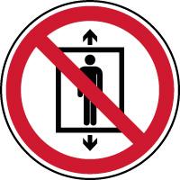 Panneau interdiction utiliser ascenseur pour des personnes