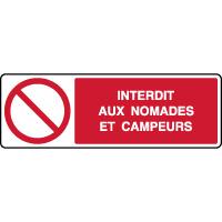 Panneau horizontal interdit nomades et campeurs