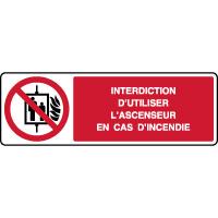 Panneau horizontal interdit d'utiliser ascenseur si incendie