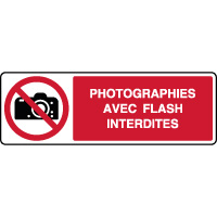 Panneau horizontal photographies flash interdites