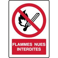 Panneau vertical flammes nues interdites