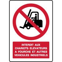 Panneau vertical interdit aux chariots élévateurs à fourche