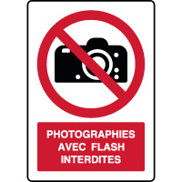 Panneau vertical photographies flash interdites