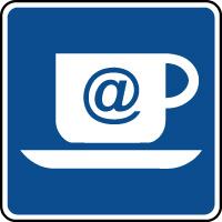 Panneau d'information café internet