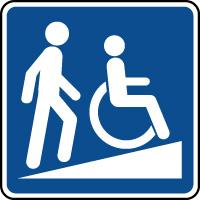 Panneau d'information rampe d'accès pour handicapés