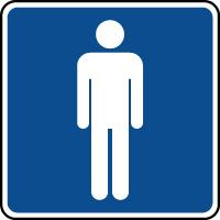 Panneau d'information toilettes messieurs