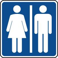 Panneau d'information toilettes mixtes H/F
