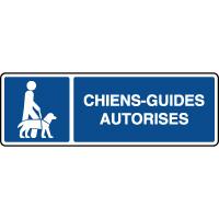 Panneau d'information horizontal chiens guides autorisés