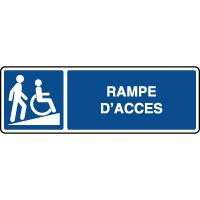 Panneau d'information horizontal rampes d'accès handicapé
