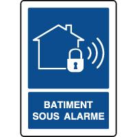 Panneau d'information vertical bâtiment sous alarme