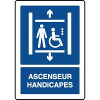 Panneau d'information vertical ascenseur handicapé