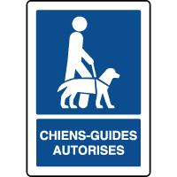 Panneau d'information vertical chiens guides autorisés