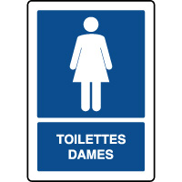 Panneau d'information vertical texte toilettes dames