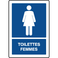Panneau d'information vertical texte toilettes femmes