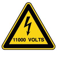 Panneau attention danger risque électrique 11000V