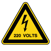 Panneau attention danger risque électrique 220V