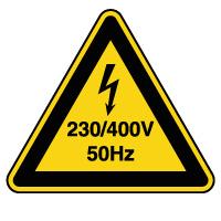 Panneau danger risque électrique 230/400V 50Hz
